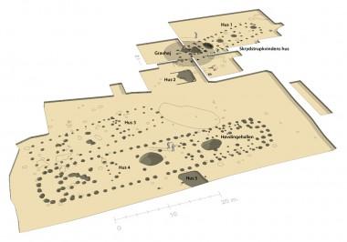 1. Oversigtsplan med hustomterne. 1 - 5 er markeret.