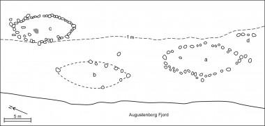 J. Rabens tegning 1938 og P. V. Globs udgravning 1960.