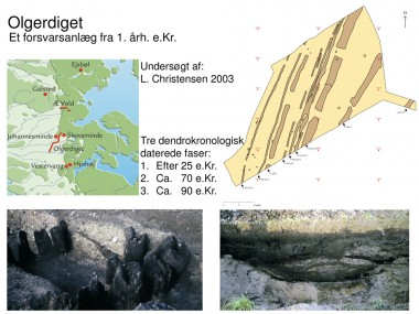 Olgerdiget består af en eller flere palisader, en voldgrav og en vold.  Det kan dateres til 1. årh. e.Kr. og udgår fra Vidåen med retning mod Åbenrå Fjord. Diget er lokaliseret over en strækning på mere end 11 km.