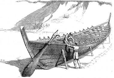 Bådnaglerne i Ejsbøl stammer fra en båd af denne størrelse. (Radering fra Illustreret Tidende 1865).