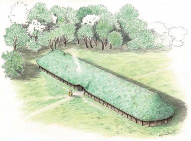 Treskibede huse fra ældre bronzealder har antagelig haft bulbyggede vægge. Taget har været  lagt med græstørv. Kæmpehallen fra Højgård har lignet denne rekonstruktion. Tegning: Jørgen Andersen.