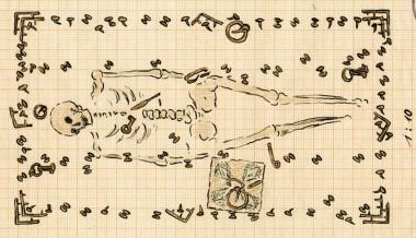Som kiste blev brugt en vognfading og forenden af kisten hang torshamre . Tegning J. Raben.