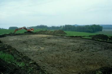 Udgravningsfeltet efter muldjorden var fjernet.
