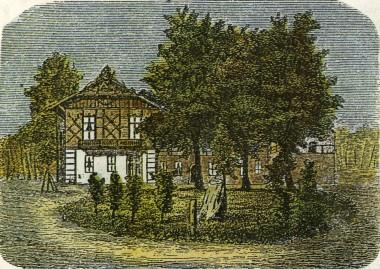 Bygget 1869, og revet ned i 1954. Runestenen står midt på plænen. Anonym tegning fra 1880 (efter Nehls 1992).