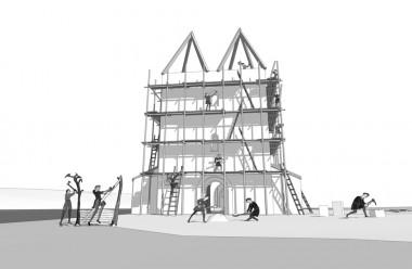 Rekonstruktionsforslag af byggeriet af Starup Kirke inden tårnet og sideskibene blev revet ned. Tegning: Jørgen Andersen. Museum Sønderjylland – Arkæologi Haderslev.