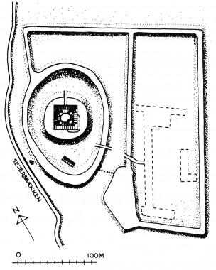 Plan over hele Trøjborg med markering af bygningerne på ladegårdsbanken. Tegning: Johannes Herz.