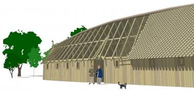 Tegning af Vollerup-huset med udgangspunkt i udgravningens opmålinger. Tegner: Jørgen Andersen.