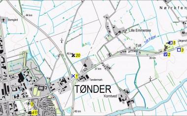 Udgravningerne 2, 3 og 5 er markerede på kortet.