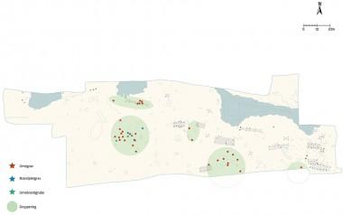 2. Oversigtsplan over udgravningen med markering af gravene.