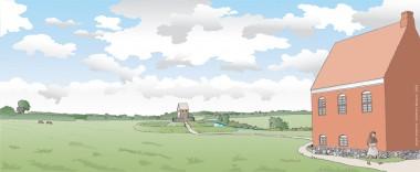 Der vides intet om de øvrige bygninger på herremandens gård, stald, lade etc. De må ligge nord for stenhuset. Tegning: Jørgen Andersen.