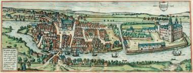 Braunius' prospekt af Haderslev fra 1585. Fra museum-sonderjylland.dk – Bymuseet i Haderslev – Byens historie.