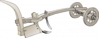 Placeringen af skæret og de to kæder fremgår. Bemærk det lodrette bræt på siden – den såkaldte muldfjæl. Tegning: Jørgen Andersen efter Grith Lerche.