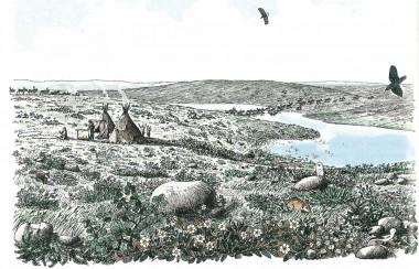 Panoramaet viser landskabet og bopladserne for 14.000 år siden. Tegning Jørgen Andersen