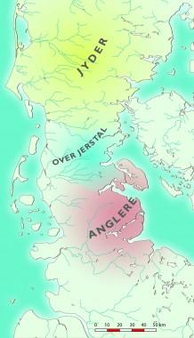 Kortet viser den omtrentlige udbredelse af anglerne og Over Jerstal-kredsen i det 1. århundrede e.Kr. Tegning: Jørgen Andersen
