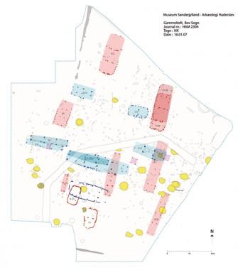 Blå = Øst-vestvendte huse. Rød= nord-sydvendte huse. Gul = grubehuse .
