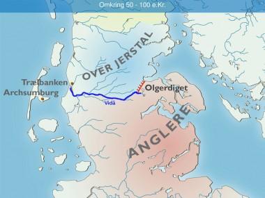 Sammen med Trælbanke, Archsumburg, Kærgård og  Vidåen udgør  Olgerdiget anglernes nordgrænse mod OverJerstal-kredsen i 1. årh. e.Kr.