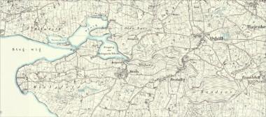 På kortet er Mejls sø og Bundsø stadigvæk fugtige engarealer.