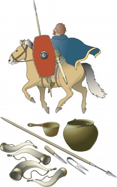 Nederst ses noget af det udstyr, der fandtes i urnen, blandt andet den romerske  kasserolle og østlandskedel i bronze. Tegning: Jørgen Andersen