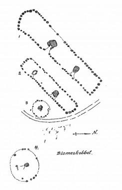 [:da]Tegning: Jens Raben 1939:7.[:de]1. Rabens plantegninger af dysserne ved Blommeskobbel. [:]