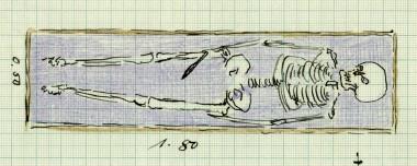 Eneste gravgave var en kniv. Tegning: J. Raben.
