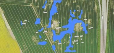 Blåt er vådområder, der fungerer som skel. Alle bygninger er markeret gråt.