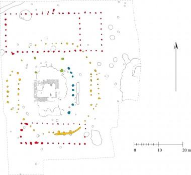 Ovnen i midten. Med gult den ottekantede bygning og med rødt de to tørrelader.