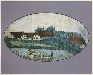 Gården set fra øst af ukendt maler. Bemærk det voldsomme tag over teglovnen til højre for gården. Privateje.