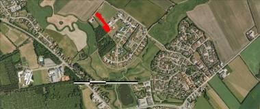Fra 2010. Udgravningsfeltet er markret med rødt.