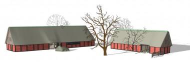 5. Rekonstruktionstegning  - fra nordøst.