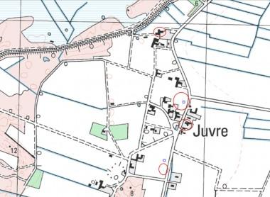 De fire forhøjninger og de to undersøgte lokaliteter er markeret. Foto: Tenna R. Kristensen.