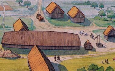 I dag ved vi, at der til højre for gården lå mindst to gårde til. Tegning: J. Kraglund.