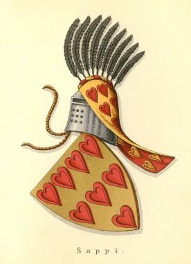 De røde hjerter i guld viser, at slægten udspringer af kong Abels slægt. Slægten uddøde på mandssiden omkring 1400. Dansk Adels Årbog 1914.